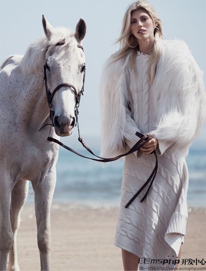 帝国cms图集插件:超模Devon登《Vogue》杂志 拍摄沙滩时尚大片